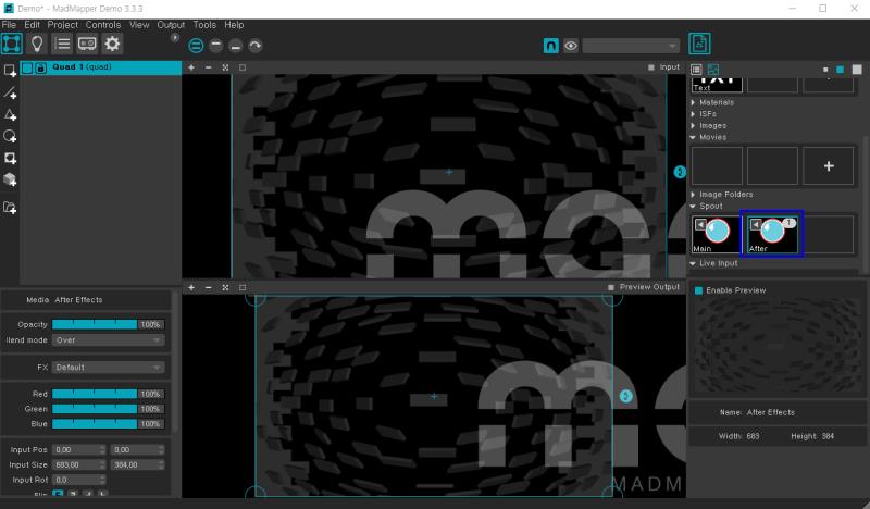 윈도우(Windows)용 사이폰(Syphon) - Spout 사용방법 [Madmapper